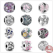 925 стерлингового серебра с цветными сердечками Роза бабочка цветок кулон DIY ювелирные украшения, драгоценные бусины, подходят к оригинальны...