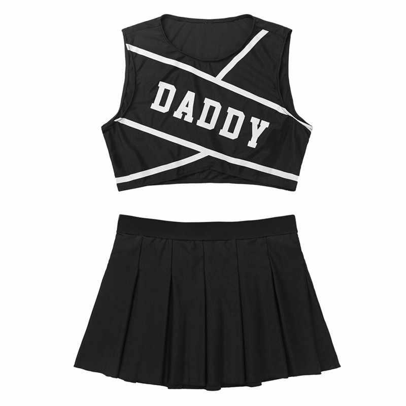 2Pcs Frauen PAPA Gedruckt Cheerleading Uniform Set Sport Bühne Cheerleader Kostüm Ärmel Crop Top mit Mini Plissee Rock