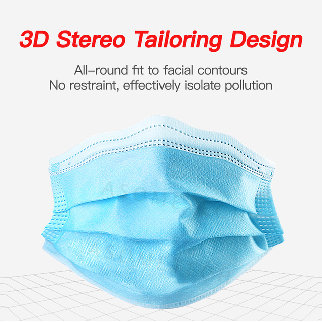 50 Pcs Mascarillas Disposable Masks 3-Layer Nonwoven Mask Respirator Masque Anti Flu Dustproof Protective Mouth Face Mask Flu 2