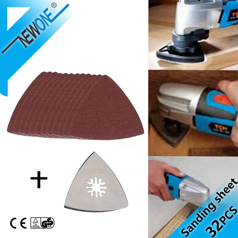 32pcs/set (60,120,180,240# Each 8)Triangle Sandpaper For Electric Saw Blade Multifunction Power Tool For Fein Bocsh