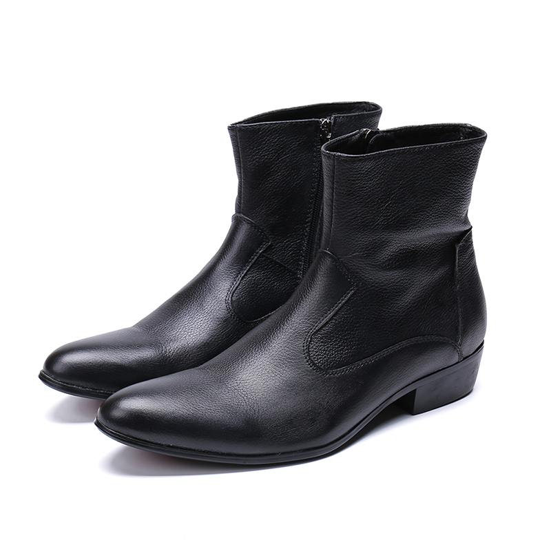 Genuine Leather Low Heel Zip Ankle Boots Fashion Black Oxford Pointed Toe Martin Boots Party Wedding Shoes Big Size 46