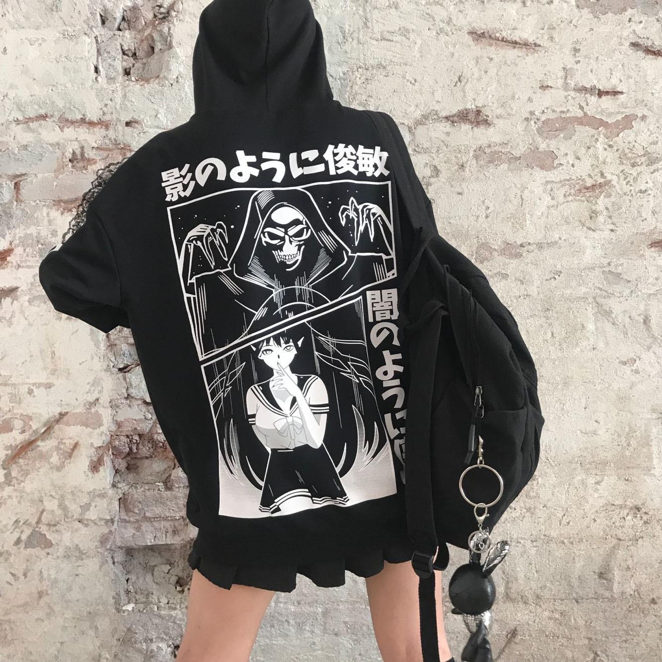 Loose Punk Style Harajuku Japanese Letter Printed Sweatshirts Female Anime Print Hooded Casual Hoodies Women Girls Pullovers