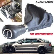 В Автоматическая автомобильная ручка переключения передач кожа Гетры Загрузки Крышка для Mercedes Benz C Class W203 W209 классический AVANTGARDE элегантност...