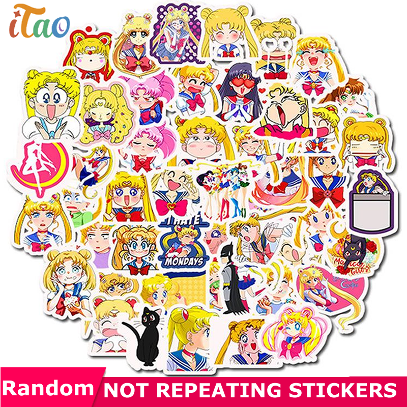 10/20/30/40/50PCS Pack Sailor Moon Sticker Waterproof PVC Skateboard Snowboard Guitar Car Laptop Kids Toys Vsco Girl Stickers
