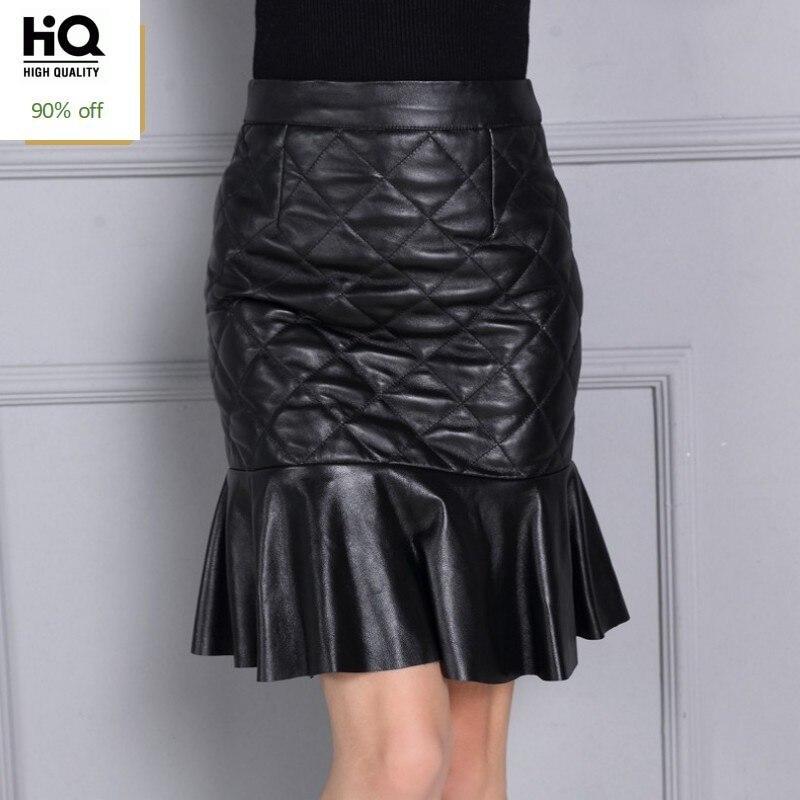 High Quality Luxury Ladies Skirts Natural Leather Solid Women High Waist Skirts Fashion Plaid Mermaid Skirts Plus Size S-4XL