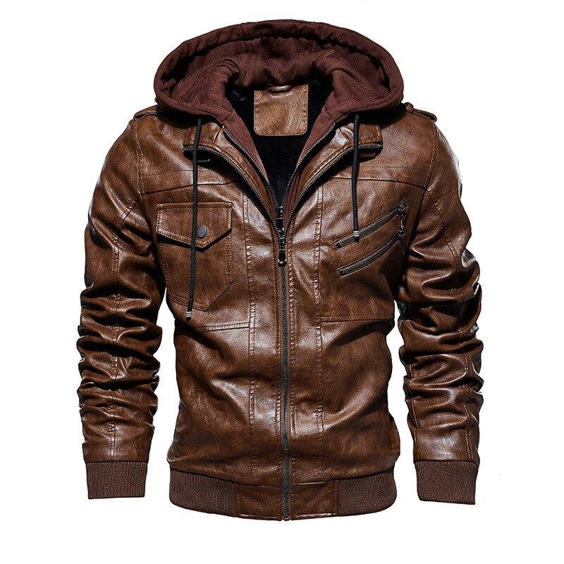 New Autumn Winter Motorcycle Leather Jacket Men Windbreaker Hooded PU Jackets Male Outwear Warm PU Baseball Jackets Size M-4XL