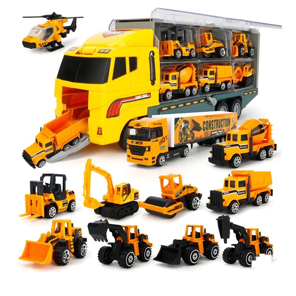Voiture de Transport moulé sous pression Construction camion véhicule voiture jouet ensemble véhicules dans transporteur camion véhicules jouets cadeaux pour garçons et filles