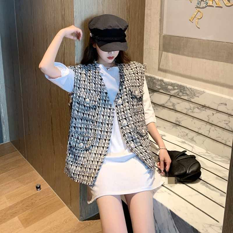 Marke Neue Koreanische Mode Argyle Lose Ärmellose Westen High Street Einreiher V-ausschnitt Sommer Dünne Tweed Oberbekleidung Westen