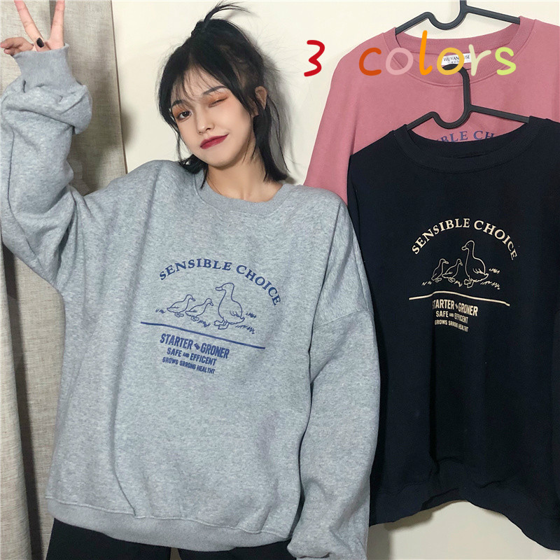 Hoodies Women Printed O-Neck All-match Loose Korean Style Womens Pullover Sweatshirt Plus Velvet Warm Leisure Fashion Ulzzang