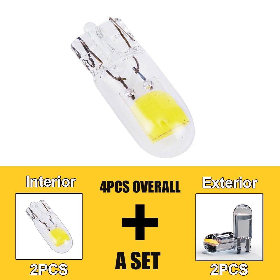 4Pcs Newest w5w LED T10 Sapphire & COB One Set Car Light 200LM Super Bright Drive-freeWedge Dome Reading Lamp Bulb 12V 6000K