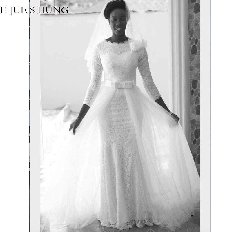 E JUE SHUNG White Lace Mermaid Muslim Wedding Dresses 3/4 sleeves Detachable Train Wedding Gowns Bride Dress