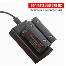 Nova insta 360 micro/tipo-c porta carregador duplo + 2pcs câmera panorâmica bateria para insta360 um x2 carregamento acessórios