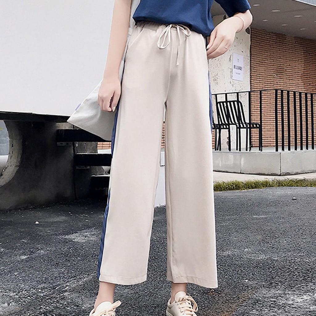 Summer Casual Ladies Loose High Waist Sport Wide Leg Pants Straight Tube Pants Side Pipe Pocket Pants 7.27
