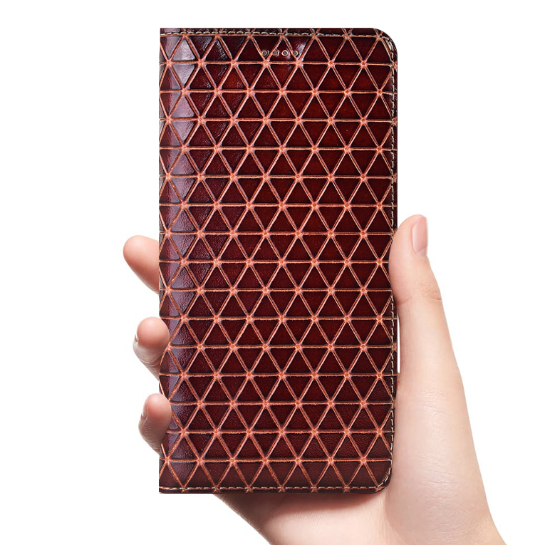 Grid Genuine Leather <font><b>Flip</b></font> <font><b>Case</b></font> <font><b>For</b></font> <font><b>Huawei</b></font> <font><b>Y5</b></font> Y6 Y6S Y7 Y9 Y9S P Smart Z Pro Prime Lite 2017 <font><b>2018</b></font> 2019 2020 Cover <font><b>Cases</b></font> Wallet image