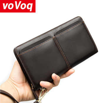 New Multi-functional Genuine leather RFID Blocking Wallet Zipper Coin Pocket Long Purse Passport Cover For Men Card Holder Purse - Category 🛒 All Category