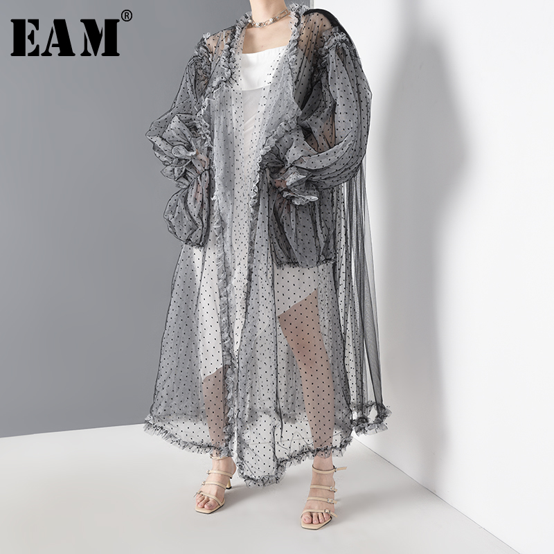 [EAM] Women Black Dot Mesh Perspective Long Big Size Blouse New Long Sleeve Loose Fit Shirt Fashion Spring Summer 2020 WE92301