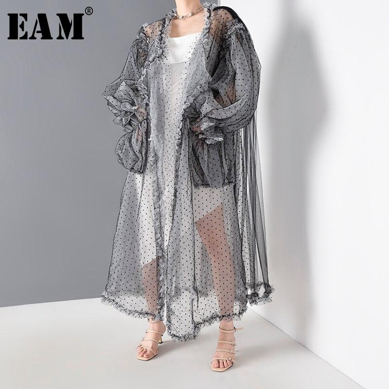 [EAM] Women Black Dot Mesh Perspective Long Big Size Blouse New Long Sleeve Loose Fit Shirt Fashion Spring Summer 2020 WE92301