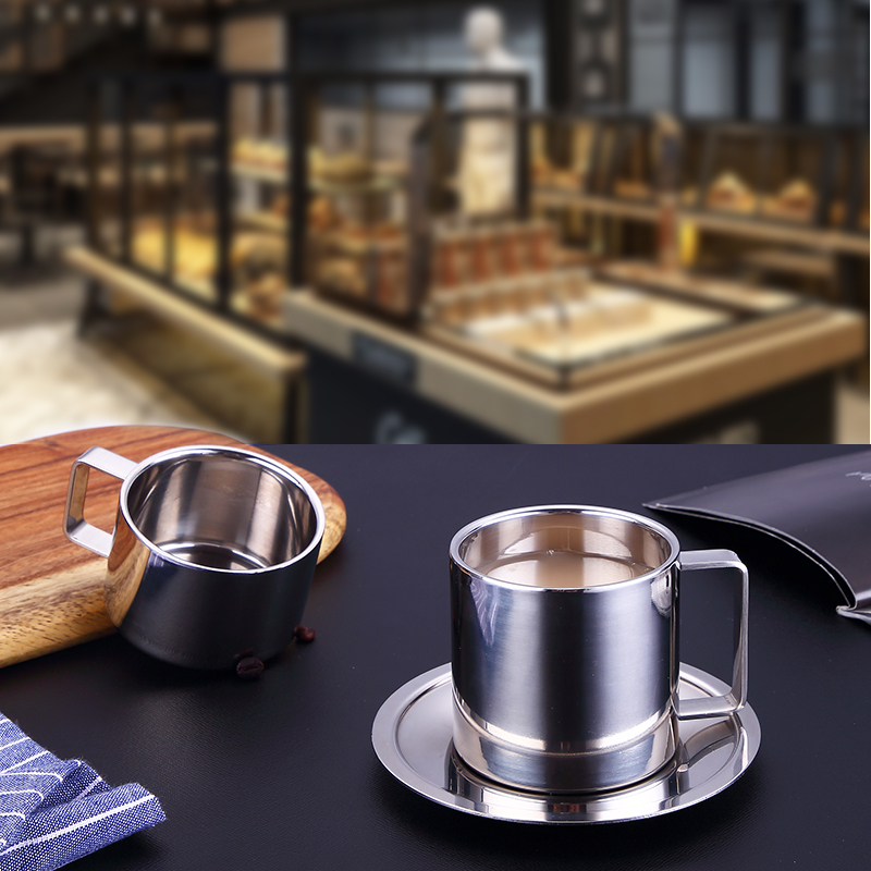 Stainless Steel Coffee Cup Saucer Set Cappuccino Espresso Double Wall Insulation Lovers Mug Office Water Afternoon Tea Milk Cups