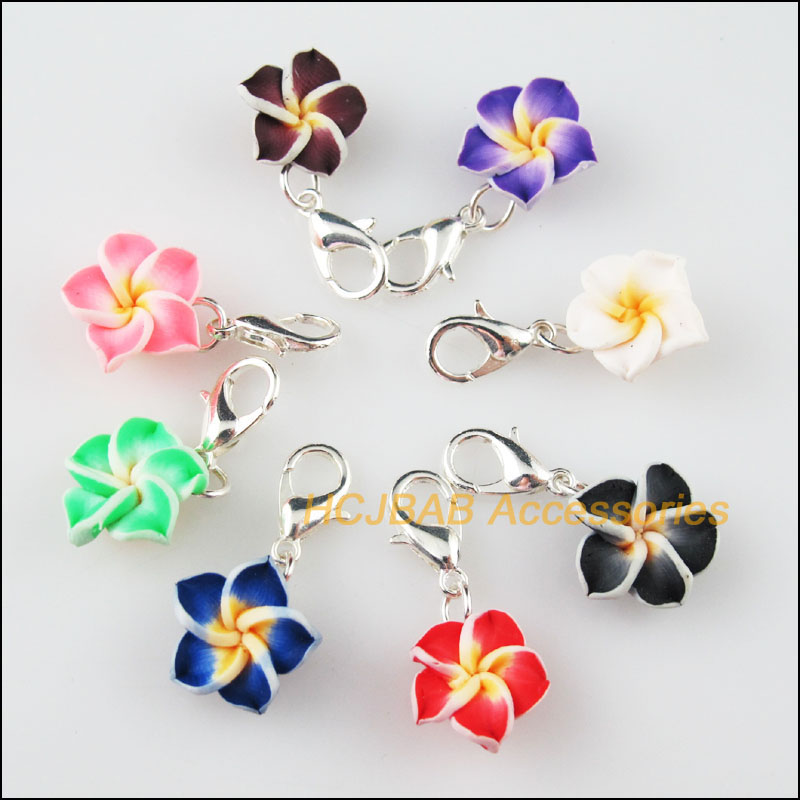 16 New Flower Beads Charms Connectors Clasps Silver Plated Mixed Clay