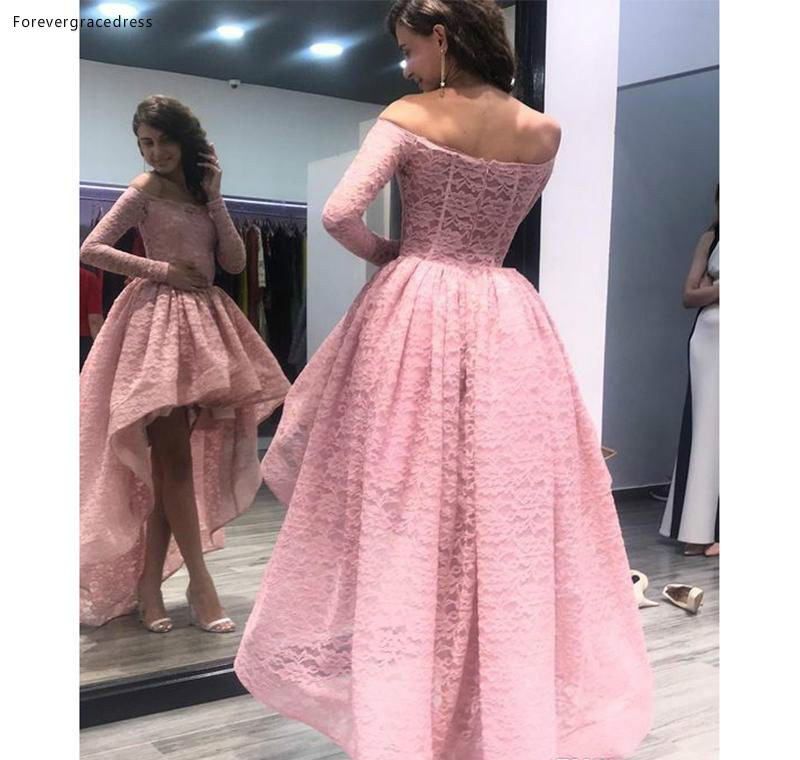 2019 Cheap Lace High Low   Prom     Dress   Off Shoulder Long Sleeves Formal Holiday Wear Party Gown Custom Made Plus Size