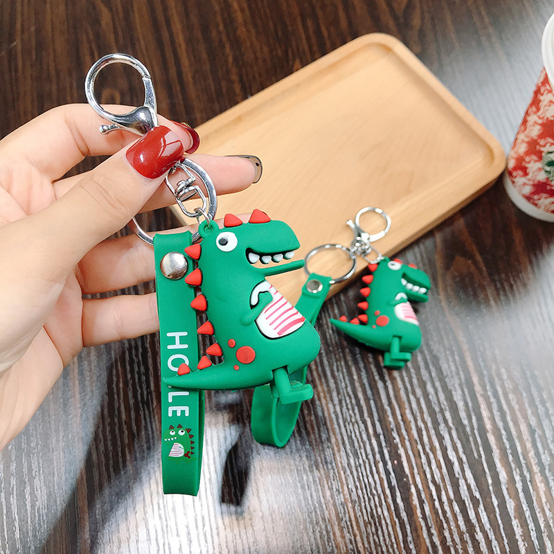 Dinosaur Keychain For Boys Key Rubber Chain Key Ring Key Holder Kids Gift Key Chains Decoration Accesorries Office Supplies Tool