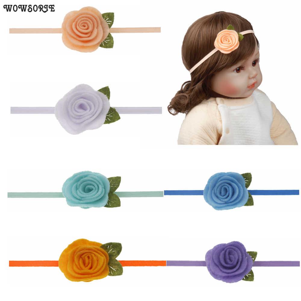 4cm diadema para niñas fieltro flor diademas de corona Rosa hojas elástica banda de pelo para Niños Accesorios de fotografía accesorios para el cabello de bebé