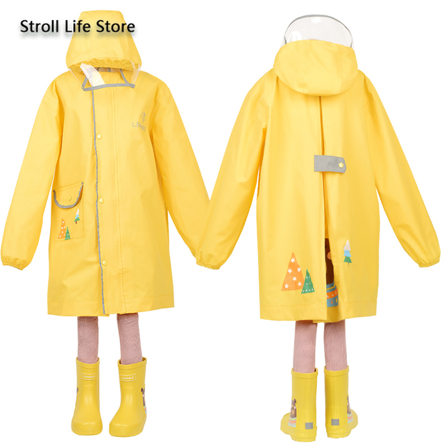 Korea Yellow Kids Raincoat Girl Long Rain Coat Poncho Waterproof Suit Cover Long Rain Jacket Kids Windbreaker Impermeable Gift 4