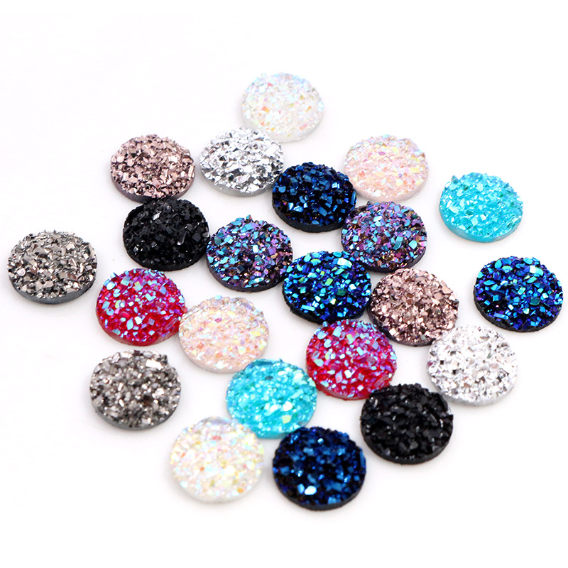 New Fashion 40pcs 8mm 10mm Mix Color Druzy Natural Ore Styl Stone Shape Series Flat Back Resin Cabochons Cameo