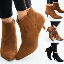 Boots Women Kitten Heel Shoes Woman Pointed Toe Booties Leopard Ankle Boots Zipper botas mujer Chelsea Boots Suede Female Shoes mabaiwan suede ankle boots square toe zipper botines mujer high heels women pumps colorful lace short botas dress shoes woman