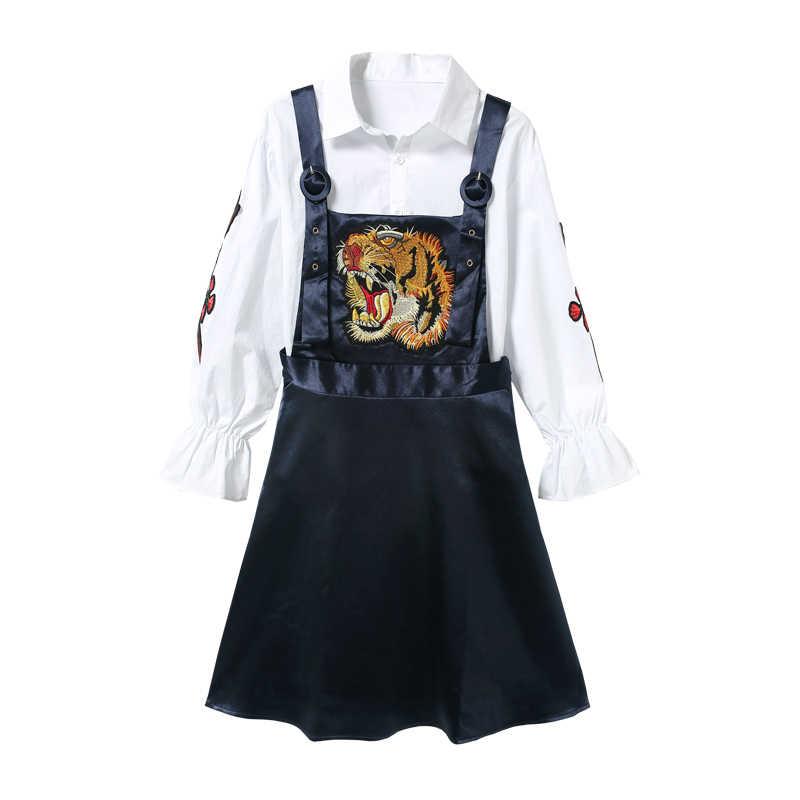 2020 rozmiar Plus nowy wzór wiosna i jesień moda dwuczęściowy rękaw Flare haft w kwiaty koszula + głowa tygrysa kombinezony XY78