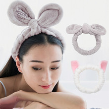 CHIMERA Elastic Makeup Headbands for Women Girls 2pcs/set Soft Wash Face Headwrap Accessories Cute Bow Cat Ears Flannel Hairband