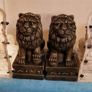 Image 2 - 35cm/13.78in Classic European Style Durable Home Gardening/ Balcony Lion ABS Plastic Concrete Mold Male &Female Pair Statue Set