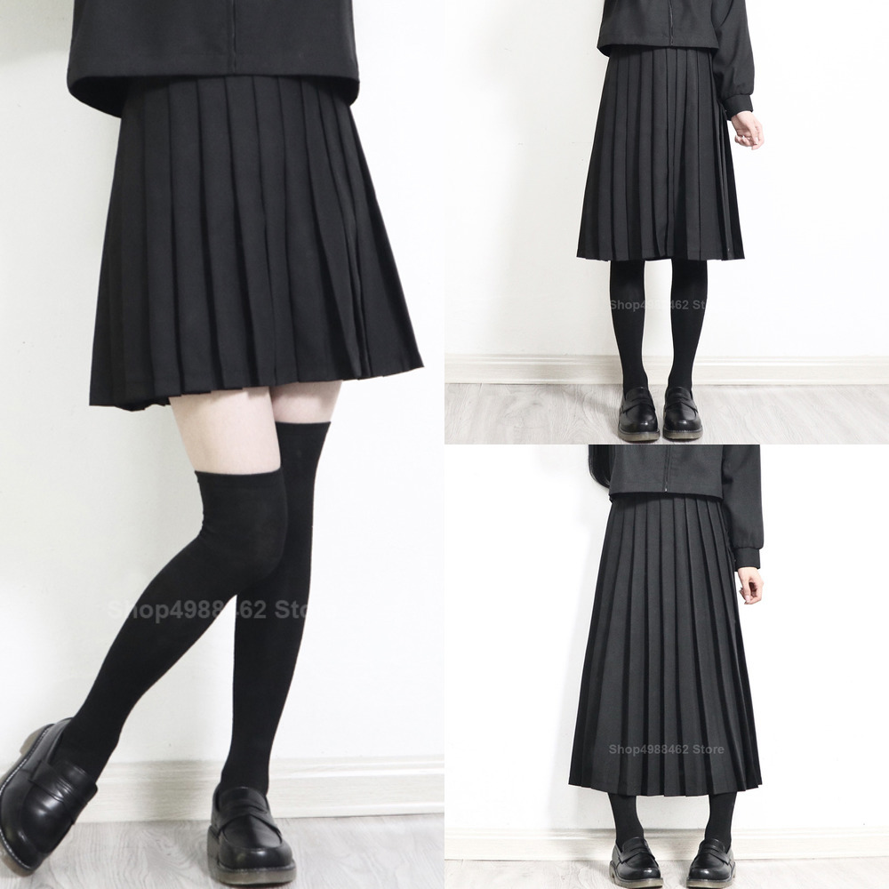 2020 Elastic Waist Japanese Student Girls School Uniform Solid Color JK Suit Pleated Skirt Short/Middle/Long High School Dress