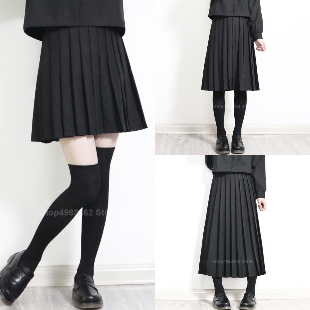 2020 Elastic Waist Japanese Student Girls School Uniform Solid Color JK Suit Pleated Skirt Short/Middle/Long High School Dress