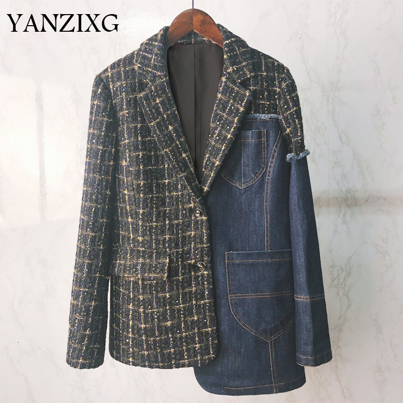 2019 New Turn-down Collar Full Sleeves Plaided Denim Patchwork Contrast Colors Full Sleeves Single Breasted Blazer D673
