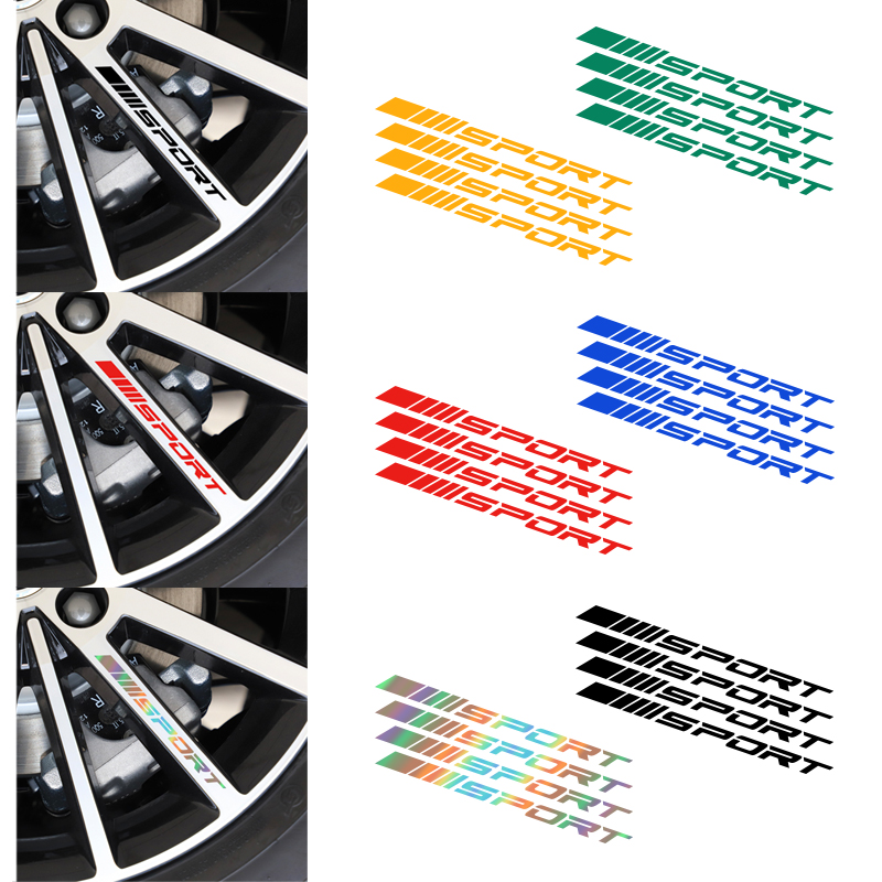4pcs Car Rims Wheel Stickers Vinyl Auto DIY Decals For Volkswagen VW Scirocco CC GOLF 7 Golf 6 MK6 Polo Tiguan GTI Car styling