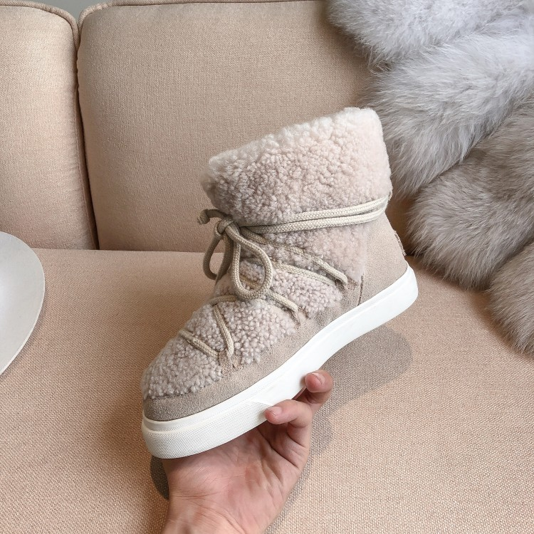 Sweet Women Wool Cow Suede Ankle Boots Female Big Size Snow Boots Dancing Casual Shoes Woman Newest Flats Platform Boots 33