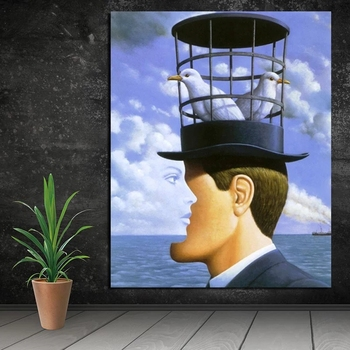 Rene Magritte his Classic Hat Painting Printed on Canvas 2