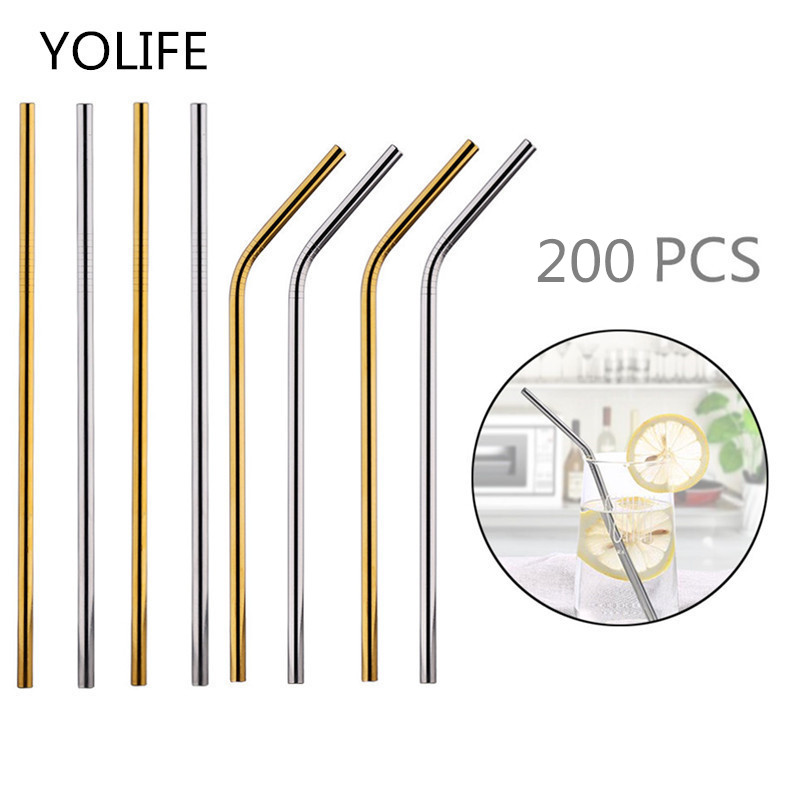 Batch Straws 200Pcs/Set Metal Straw Reusable Wholesale Stainless Steel Drinking Tubes 215mm*6mm Straight Bent Straws For Drink
