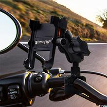 Motorcycle QC 3.0 USB Quick Charger Mirror Handlebar Stand Smart Phone Holder motorbike accessories