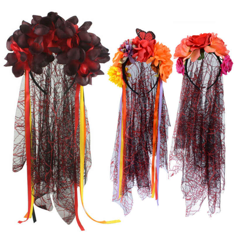 Day Of The Dead Corpse Bride Veil Rosas Mexicano Malha Headbands Festa Halloween Fancy Dress Acessório
