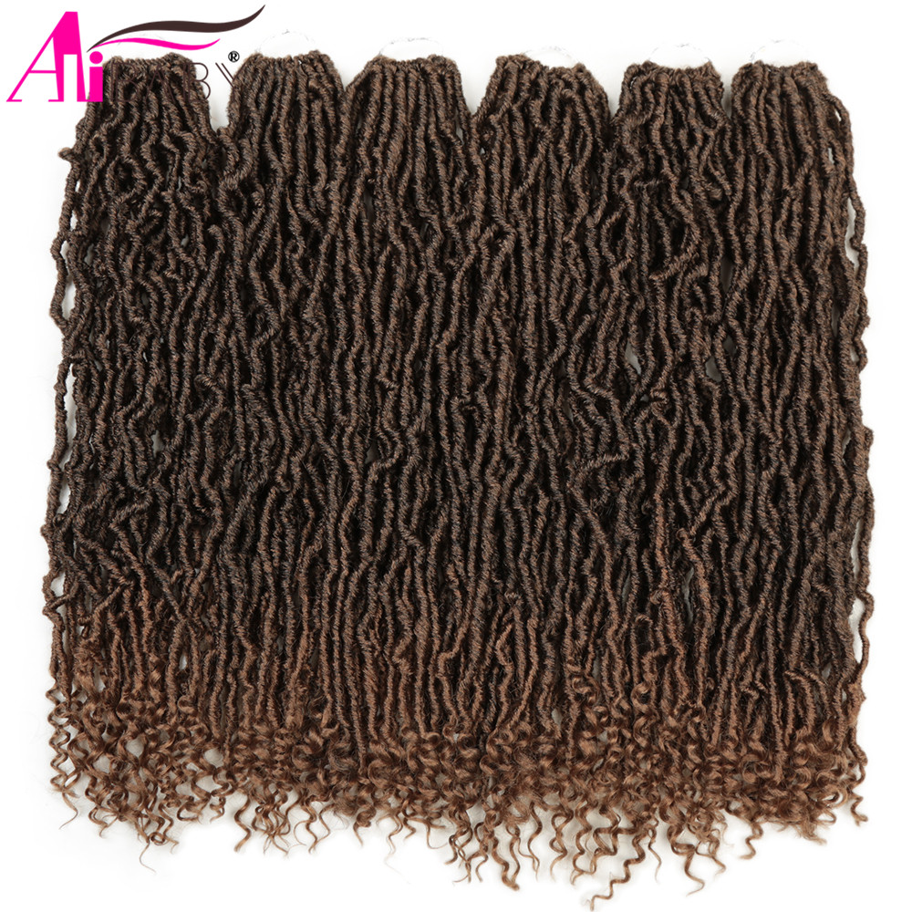 Alibaby Hair Goddess Nu Locs Crochet Hair Natural Curly Dreadlocks Hair Ombre Faux Locs Crochet Braids 20