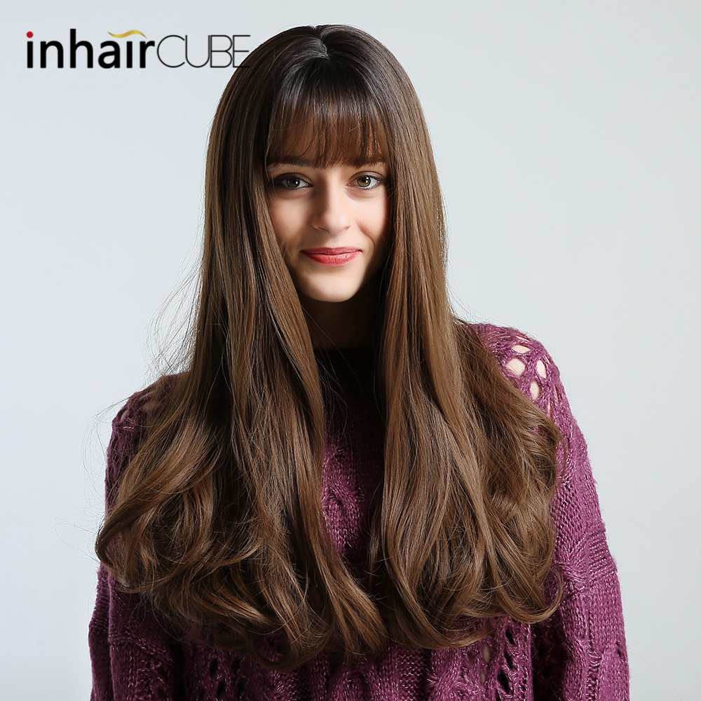 Inhair Cube Synthetic Wigs Dark Brown Long Natural Wave Middle-part Thin Flat Bangs Simulation Scalp For White/Black Women