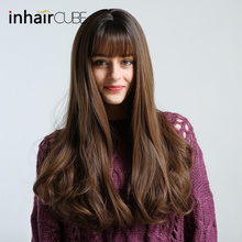 Inhair Cube Synthetic Wigs Dark Brown Long Natural Wave Middle-part