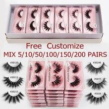 5/10/50/200 pçs atacado vison cílios 3d vison cílios naturais vison cílios pacote cílios postiços maquiagem cílios postiços no volume