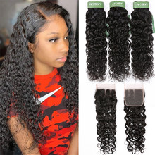 Aircabin Water Wave Bundles With Closure Brazilian Remy Human Hair Lace Closure Wet And Wavy Weave 3/4 Bundles With Closure