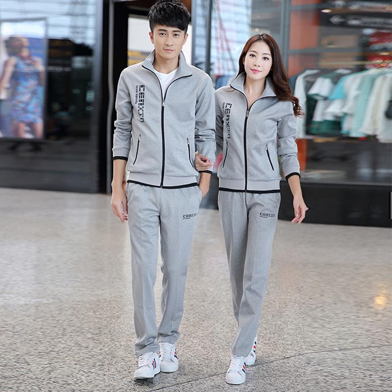 New Style Sports Set Men's Spring And Autumn Couples Sports Clothing WOMEN'S Suit Casual Wear Business Attire Two-Piece Set Scho