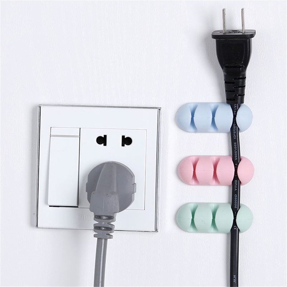 2pcs Adhesive Cable Winder Organizer Desktop Wire Wrapped Cord Earphone Clip