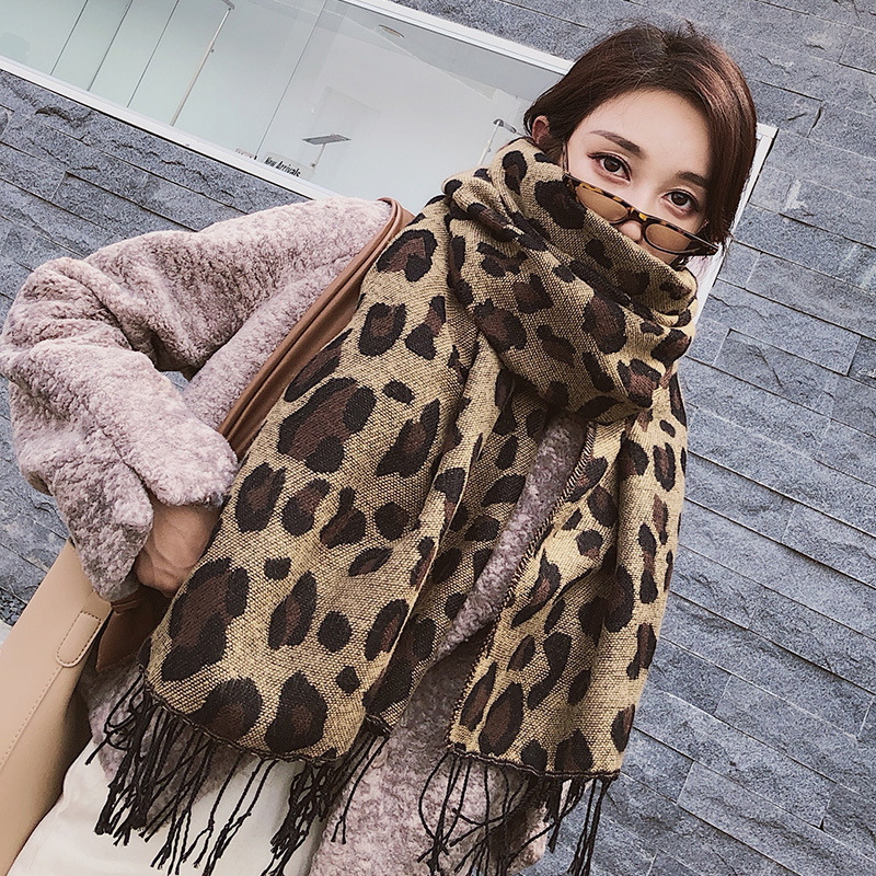 Scarf Female Winter New Style Wild Leopard Hair Edge Decoration Warm Neck Shawl Imitation Cashmere Leopard Scarf