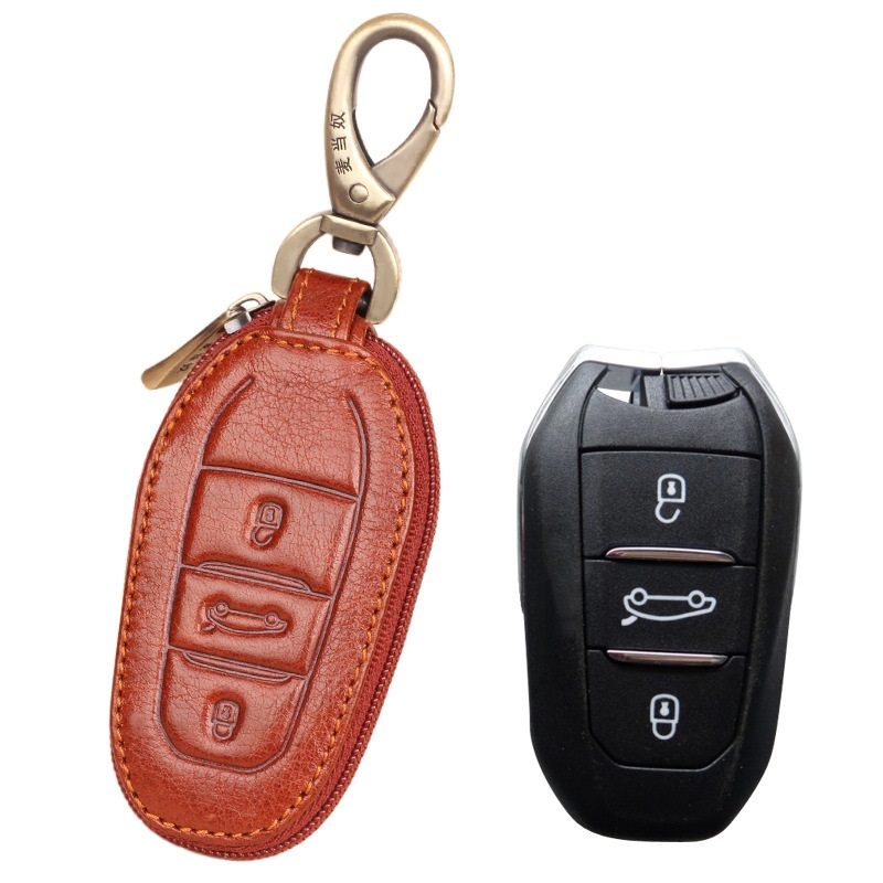 Genuine Leather Car Remote <font><b>Key</b></font> Fob Shell Cover Case For For <font><b>Peugeot</b></font> <font><b>208</b></font> 308 508 3008 5008 for Citroen C4 Picasso DS3 DS4 DS5 DS6 image
